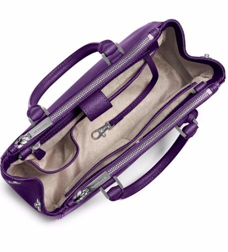 Michael Kors Sutton Small Saffiano Çanta Grape Renk – Yeni sezon çanta iç görünümü
