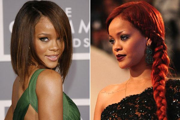 Rihanna örgülü ve düz saç modeli
