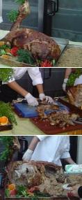 Bazı yemeklerin tranşı ve misafire servisi