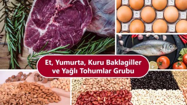 Et ve ürünleri, yumurta ve kuru baklagiller ile sert kabuklu yemişler/ yağlı tohumlar