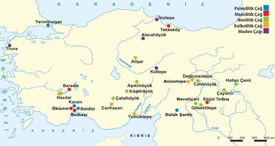 Tarih öncesi çaglarda Anadolu'daki baslıca yerlesim yerleri